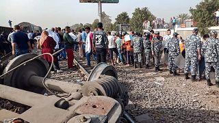 خروج قطار عند سكة الحديد بمدينة طوخ في محافظة القليوبية كان مغادرا من القاهرة إلى المنصورة. 18/04/2021