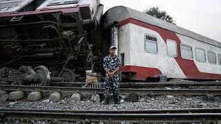 Scene of a railway accident in the city of Toukh in Egypt.
