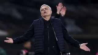Archives : José Mourinho, lors d'un match de Ligue Europa entre Tottenham et l'équipe autrichienne du Wolfsberger AC, le 24 février 2021