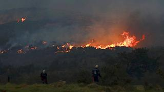 A fire rages on the slopes of Table Mountain, in Cape Town South Africa