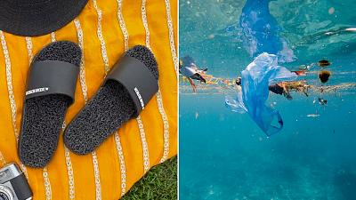 Flip flops made of plastic