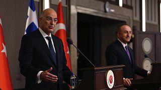 Yunanistan Dışişleri Bakanı Nikos Dendias ile Türkiye Dışişleri Bakanı Mevlüt Çavuşoğlu