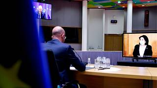 نشست مجازی شارل میشل، رئیس شورای اروپا با سالومه زورابیشویلی، رئیس جمهوری گرجستان