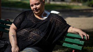 """Cecilia Heyder, padece cáncer metastásico, lupus y un trastorno sanguíneo. Pide morir """"con dignidad"""". Foto tomada en Santiago de Chile, el 15 de abril de 2021."""