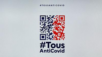 "The logo of France's ""Everyone against the Covid"" (Tous Anti Covid) app."
