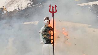 In Switzerland, the winter man explodes announcing summer