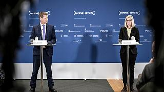 Soeren Brostroem, director of the National Board of Health, left and Tanja Erichsen, from the Danish Medicines Agency take part in a press briefing