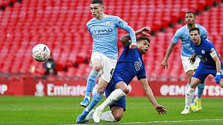 Manchester City in action against Chelsea in the FA Cup semi-final