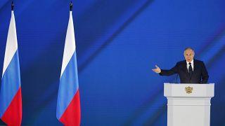 Putin bei seiner Rede zur Lage der Nation in Moskau