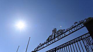 Schriftzug am Liverpooler Stadion