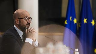 FILE: European Council President Charles Michel attends the leaders summit on climate via video conference, in Brussels on April 22, 2021.