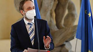 The Czech Republic's newly-appointed Foreign Minister Jakub Kulhanek addresses the media at the Cernin's Palace in Prague on Wednesday