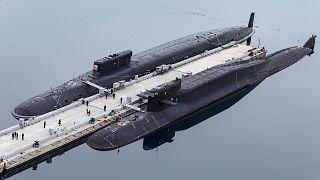 الغواصة النووية الروسية الأمير فلاديمير في غازيفو في شبة جزيرة كولا. 2021/04/13