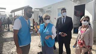 UNHCR's Assistant High Commissioner for Protection, Gillian Triggs, visits the Pournara First Reception Centre,  Cyprus.