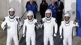 The Crew Dragon astronauts (from left) France's Thomas Pesquet, NASA's Megan McArthur and Shane Kimbrough, and Japan's Akihiko Hoshide