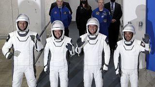 The Crew Dragon astronauts (from left) France's Thomas Pesquet, NASA's Megan McArthur and Shane Kimbrough, and Japan's Akihiko Hoshide