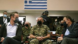 K. Μητσοτάκης, Ν. Παναγιωτόπουλος, Κ. Φλώρος