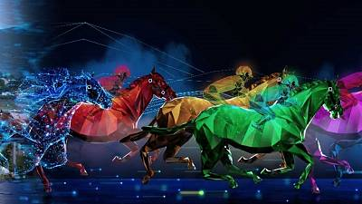 Horses are raced in a virtual reality setup and traded as Non-Fungible Tokens (NFTs)
