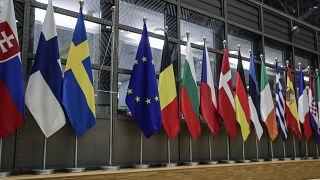 أعلام دول التكتّل داخل مقر المجلس الأوروبي ـ بروكسل