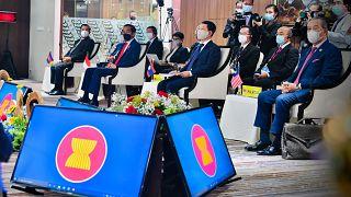 Reunión en la Secretaría de la ASEAN en Yakarta, Indonesia, el sábado 24 de abril de 2021.