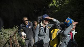 "Members of the French team that participated in the ""Deep Time"" study, emerge from the Lombrives Cave after 40 days underground in Ussat les Bains, France, Saturday, April 24."