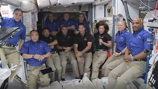 This image provided by NASA, astronauts from SpaceX join the astronauts of the International Space Station for an interview on Saturday, April 24, 2021.