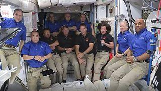 Uluslararsı Uzay İstasyonu'ndan (ISS) bir kare. Şu anda ISS'de 11 astronot görev yapıyor. Bunlardan 4'ü yakın bir zamanda, Dünya'ya geri dönecek.