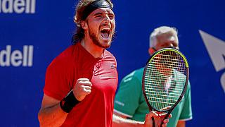 Stefanos Tsitsipas of Greece celebrates his victory over Jannik Sinner of Italy during a semi final Godo tennis tournament in Barcelona