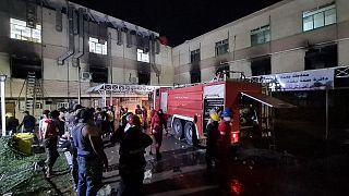 Bağdat'ta hastanede yangın çıktı