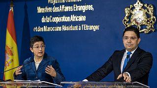وزير الشؤون الخارجية المغربي ناصر بوريطة مع نظيرته الإسبانية أرانشا غونزاليس لايا في العاصمة المغربية الرباط/ 24 يناير 2020.