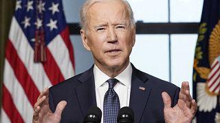 Joe Biden amerikai elnök sajtótájékoztatója a washingtoni Fehér Házban április 14-én