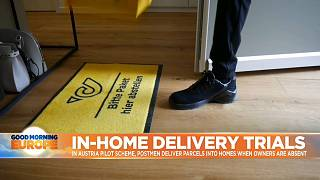 Mat left by front door for home delivery trial in Austria.