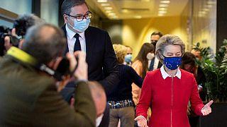 European Commission President Ursula von der Leyen (R) welcomes Serbian President Aleksandar Vucic prior to their meeting at EU headquarters in Brussels, on April 26, 2021.