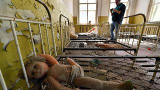 Çernobil'de bir okul yatakhanesi