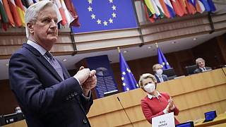 Head of the Task Force for Relations with the UK, Michel Barnier, flanked by European Commission President Ursula von der Leyen, in the EP