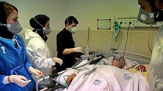 بخش مراقبت از بیماران کرونایی در بیمارستانی در تهران