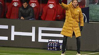 Leipzig's head coach Julian Nagelsmann reacts during the German Bundesliga match between RB Leipzig and TSG 1899 Hoffenheim in Leipzig, April 16, 2021.