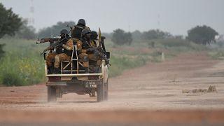 File photo of Burkinabe gendarmes patrolling