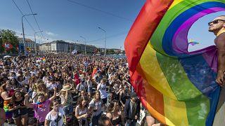 Swiss citizens participate in a pride march in Geneva in July 2019.
