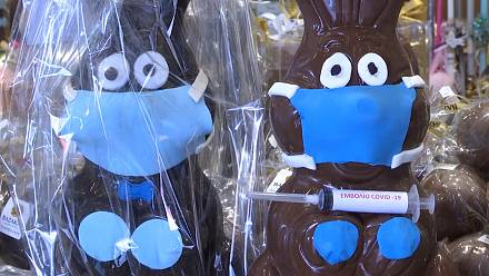 Masked chocolate bunnies fill pastry shop in Athens
