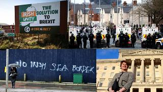 From top left, clockwise: Motorists pass a sign promoting a united Ireland; police control rioters in Belfast; former DUP leader Arlene Foster; anti-protocol graffiti.