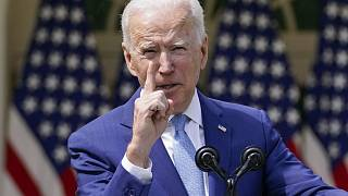 In this April 8, 2021, file photo President Joe Biden gestures as he speaks about gun violence prevention in the Rose Garden at the White House in Washington.