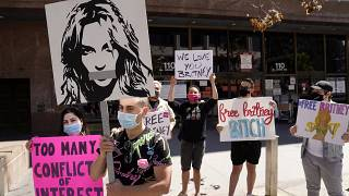 Britney Spears fans gather outside a court hearing concerning the pop singer's conservatorship