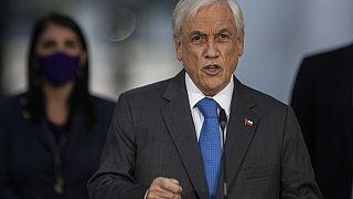 El presidente de Chile, Sebastián Piñera, durante su comparecencia este martes.