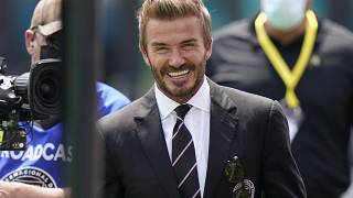 avid Beckham,  walks on the field as he greets fans before an MLS soccer match between Inter Miami, and LA Galaxy, Sun