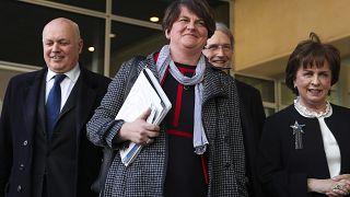 رئيسة الحزب الاتحادي الديمقراطي في أيرلندا الشمالية أرلين فوستر، في مقر الاتحاد الأوروبي في بروكسل.