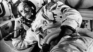 In this June 19, 1969 file photo, Apollo 11 command module pilot astronaut Michael Collins takes a break during training for the moon mission, in Cape Kennedy, Fla.