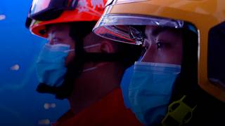 Firefighters from Guiyang fire brigade.