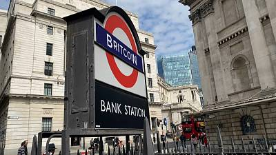 The underground station outside the Bank of England, with 'Underground' changed to 'Britcoin'