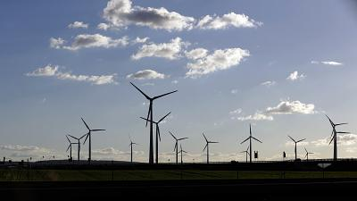 Wind turbines near Halle, central Germany.